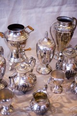 Vintage Ambiance Table Top Silver Vases for rental